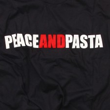 Peace and Pasta on Black T-Shirt