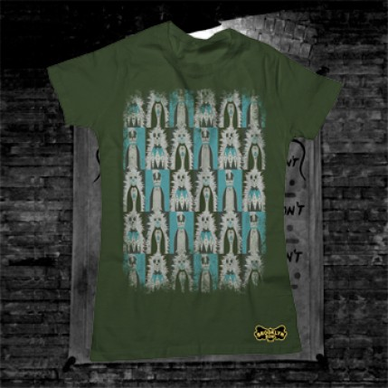 Distressed Knockdown Punks Women's T-Shirt on Green