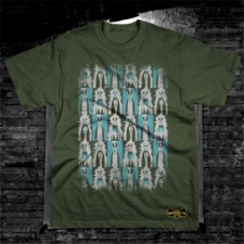Distressed Knockdown Punks T-Shirt on Green