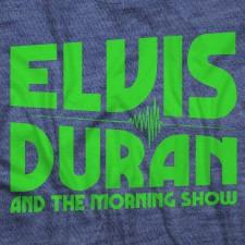 Elvis Duran Neon Logo on Heather Navy T-Shirt