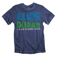 Elvis Duran Distressed Logo on Heather Navy T-Shirt
