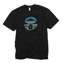 Men's Ship in Clouds T-Shirt on Black